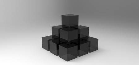 stacked: cube stacked rendering in gray background