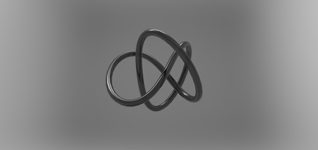 plastic pipe: 3D torus knot in gray background