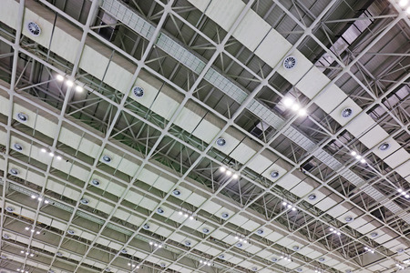 rigidity: steel structure geometry construction in a hall Stock Photo