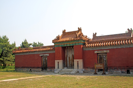 garden features: ancient Chinese palace gate, closeup of photo