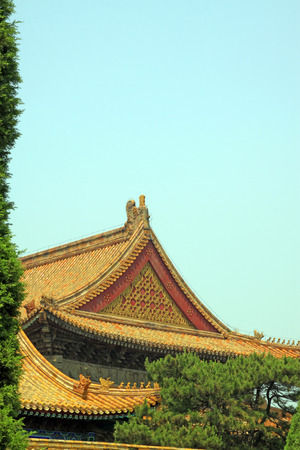 garden features: glazed tile roof, Chinese ancient architectural landscape in Eastern Royal Tombs of the Qing Dynasty, China Editorial