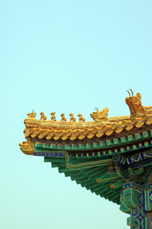 rafters: animal statues on the roof in ancient China, closeup of photo