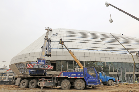 disorderly: Tangshan tangshan - March 6: Tangshan international conference and exhibition center construction site, on March 6, 2016, tangshan city, hebei province, China