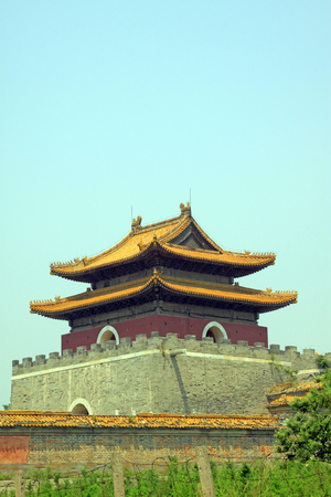 ancient Chinese traditional architectural style landscape, closeup of photo