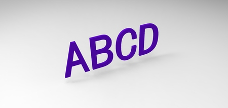 3D font ABCD in white background, computer generated images