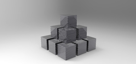 cube stacked rendering in gray background, computer generated images