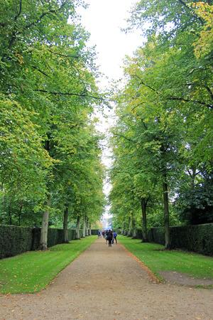 cambridge: park path in Cambridge, England Stock Photo