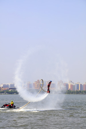 tangshan city: Tangshan - June 19: water jetting special effects performance, on June 19, 2016, tangshan city, hebei province, China Editorial