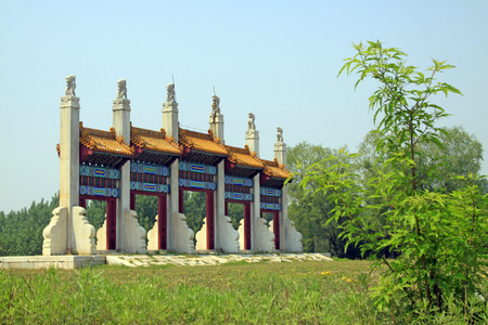 Zunhua city- May 23: dragon and phoenix door landscape architecture in Eastern Royal Tombs of the Qing Dynasty, May 23, 2015, zunhua city, hebei province, China.