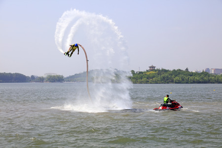 special effects: Tangshan - June 19: water jetting special effects performance. Editorial