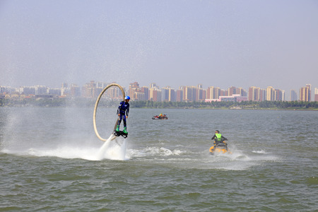 propulsion: Tangshan - June 19: water jetting special effects performance. Editorial