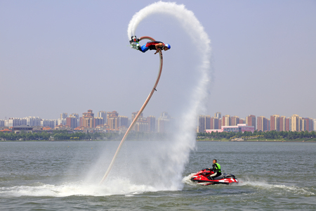 hebei: Tangshan - June 19: water jetting special effects performance, on June 19, 2016, tangshan city, hebei province, China Editorial