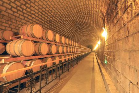 French Oak Wine Barrel in the wine cellar