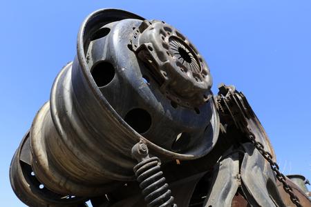 rusty mechanical components, closeup of photo
