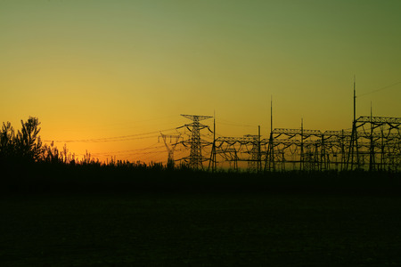 substation equipment in the setting sun Stock Photo
