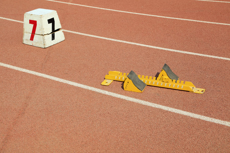 starting block and track number on plastic playground