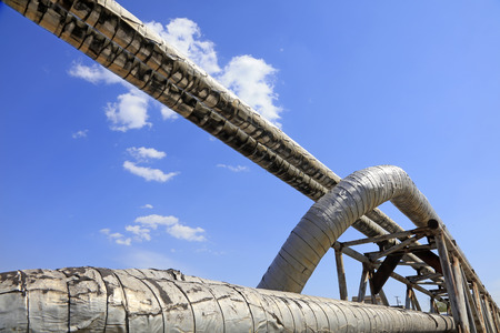 Thermal insulation pipe under blue sky Stock Photo