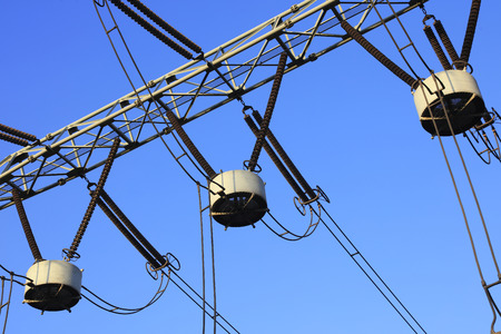 Electric power equipment in the blue sky background