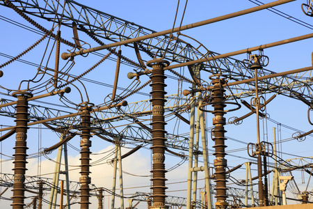 substation equipment in blue sky Stock Photo