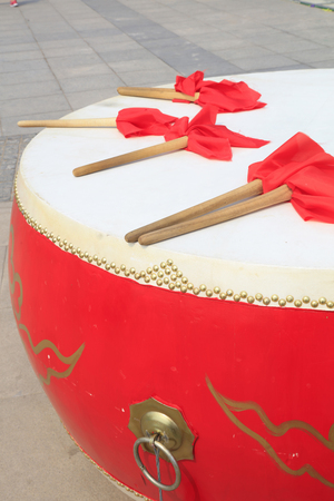 chinese drum: Chinese style drums and hammer, closeup of photo