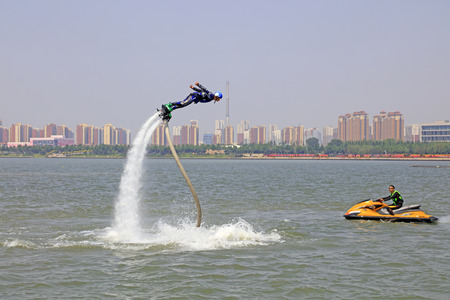 Tangshan - June 19: water jetting special effects performance, on June 19, 2016, tangshan city, hebei province, China Editorial