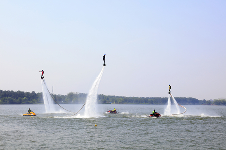 propulsion: Tangshan - June 19: water jetting special effects performance, on June 19, 2016, tangshan city, hebei province, China Editorial