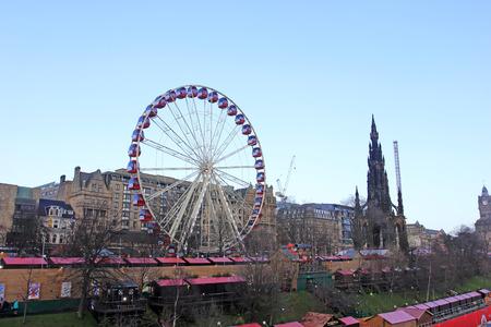 december 21: Edinburgh - December 21: ferris wheel in the city, December 21, 2015, Edinburgh, UK.