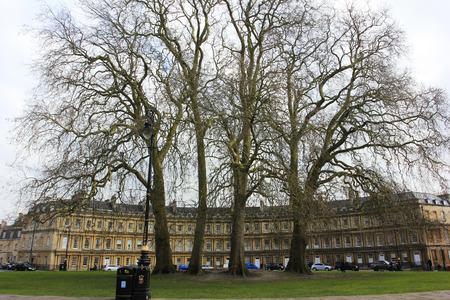 buss: Bath City - March 16: Round Square building scenery, March 16, 2016, Bath, UK.