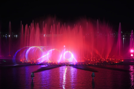 Music fountain water curtain movie images, closeup of photo