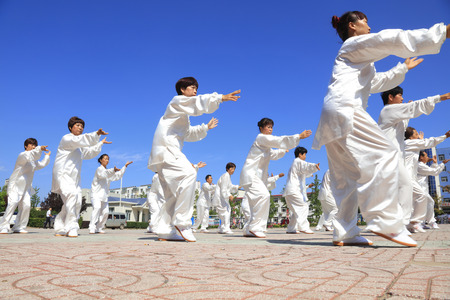 hebei: Tangshan - August 8: Chinese Kungfu-Tai Chi exercise in the park, August 8, 2016, tangshan city, hebei province, China Editorial