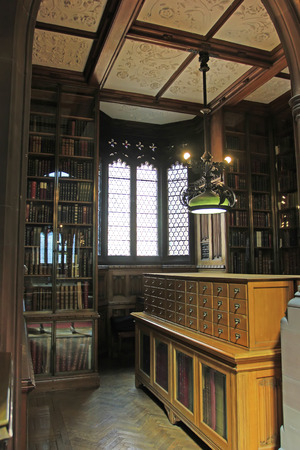 droplight: Manchester - July 27: the third floor study room of John Rylands Library, on July 27, 2016, Manchester, England.