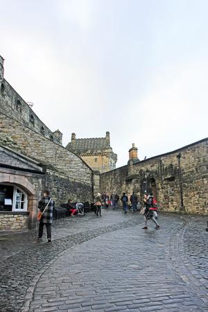 december 21: Edinburgh - December 21: Visitors playing in the Edinburgh castle, December 21, 2015, Edinburgh, UK. Editorial