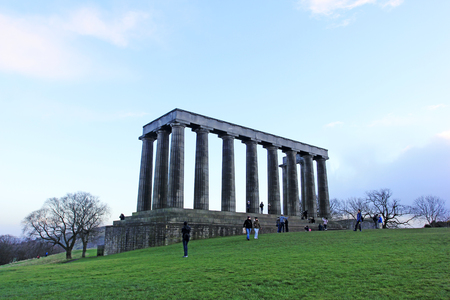 december 21: Edinburgh - December 21: The unfinished National Monument of Scotland, built to commemorate the soldiers of the Napoleonic Wars on Calton Hill, December 21, 2015, Edinburgh, UK.