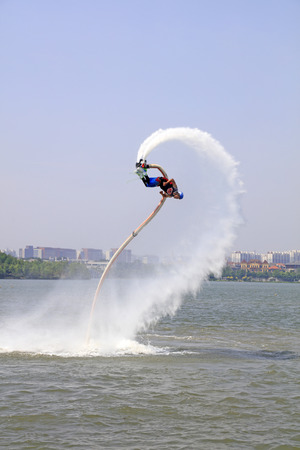 special effects: Tangshan - June 19: water jetting special effects performance, on June 19, 2016, tangshan city, hebei province, China Editorial