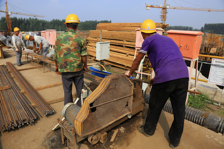 steel workers: Luannan County - September 13: steel workers on construction sites, on September 13, 2016, luannan county, hebei province, China