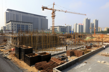 busy construction site in a city, China