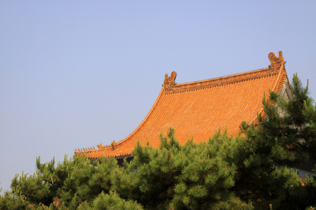 glazed: Glazed tile roof, Chinese ancient architectural landscape Stock Photo