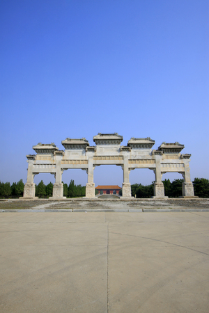 taboo: ZunHua county - May 23: stone archway building landscape, May 23, 2015, ZunHua county, hebei province, China