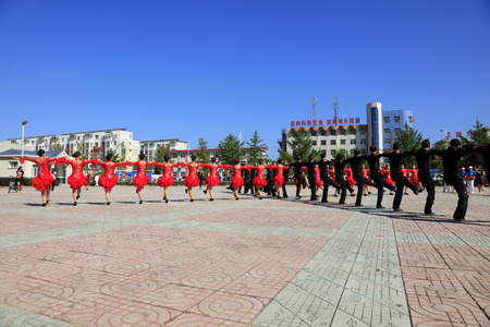 tangshan city: Tangshan - August 8: Sports dance exercise in the park, August 8, 2016, tangshan city, hebei province, China