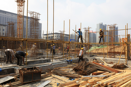 Luannan County - September 13: Construction workers at the site, on September 13, 2016, luannan county, hebei province, China