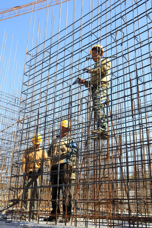 steel workers: Luannan County - September 28: steel workers on construction sites, on September 28, 2016, luannan county, hebei province, China