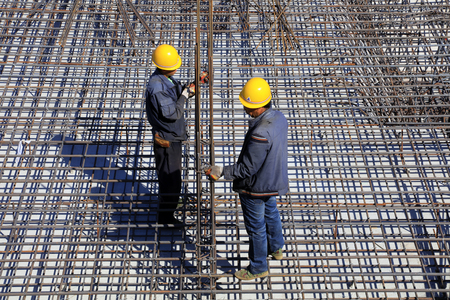 property development: steel fabric in the construction site