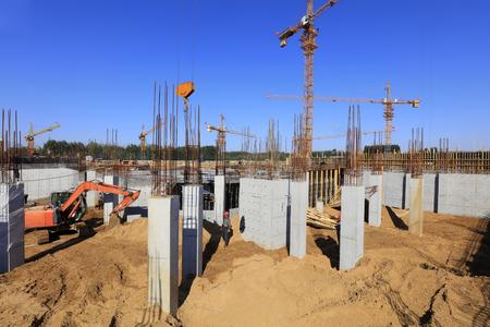 Concrete columns in the construction site