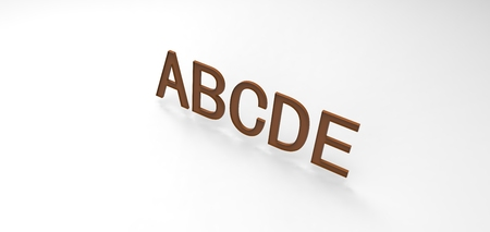 3D font ABCDE in white background, computer generated images Stock Photo
