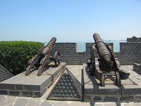 Yantai city - May 23rd: Chinese ancient artillery, scenic area in Penglaige, May 23rd, 2015, Yantai City, Shandong Province, China