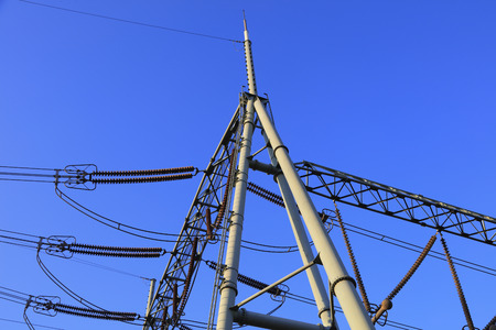 telephone poles: Electric power equipment in the blue sky background