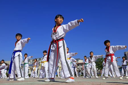 hebei: Tangshan - August 8: Taekwondo performances in the park, August 8, 2016, tangshan city, hebei province, China