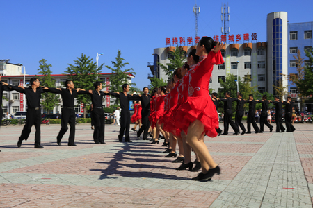 Tangshan - August 8: Sports dance exercise in the park, August 8, 2016, tangshan city, hebei province, China