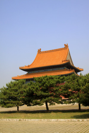 Glazed tile roof, Chinese ancient architectural landscape Stock Photo