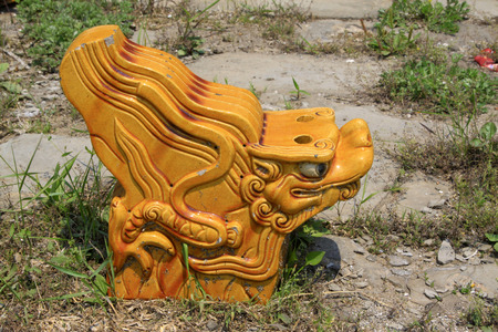 Yellow glazed tile dragon head in the ground